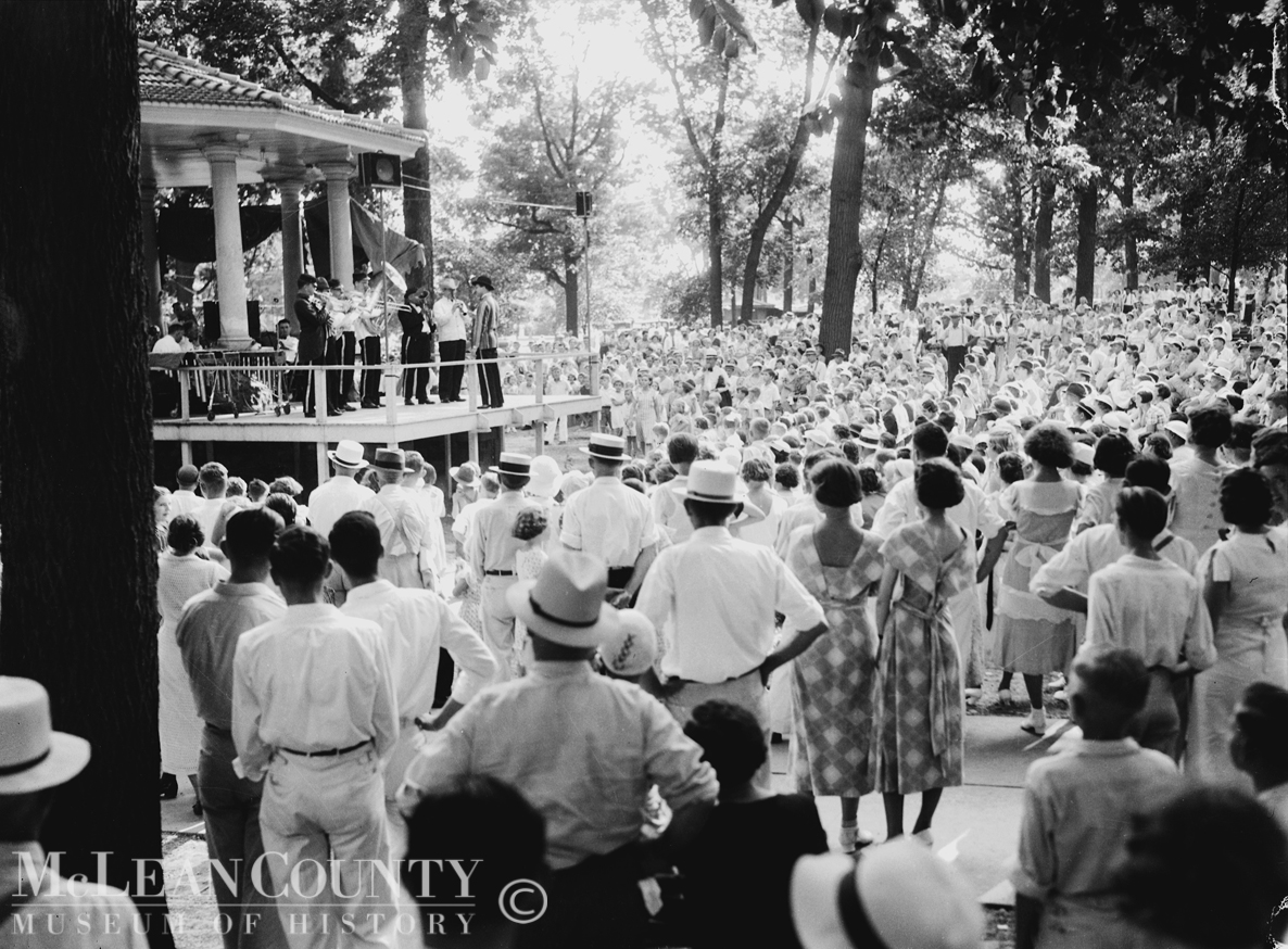 In late July 1935, a large crowd gathered at the Miller Park bandstand to listen to the Pumpernickel Band, also known as the Spinach Blowers