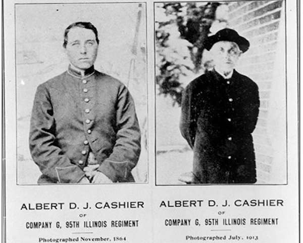 Albert Cashier made national news after doctors discovered his female biological gender after years of living as a man, including years of fighting in the Union Army during the Civil War. He is shown as both a young soldier and a senior later in life.