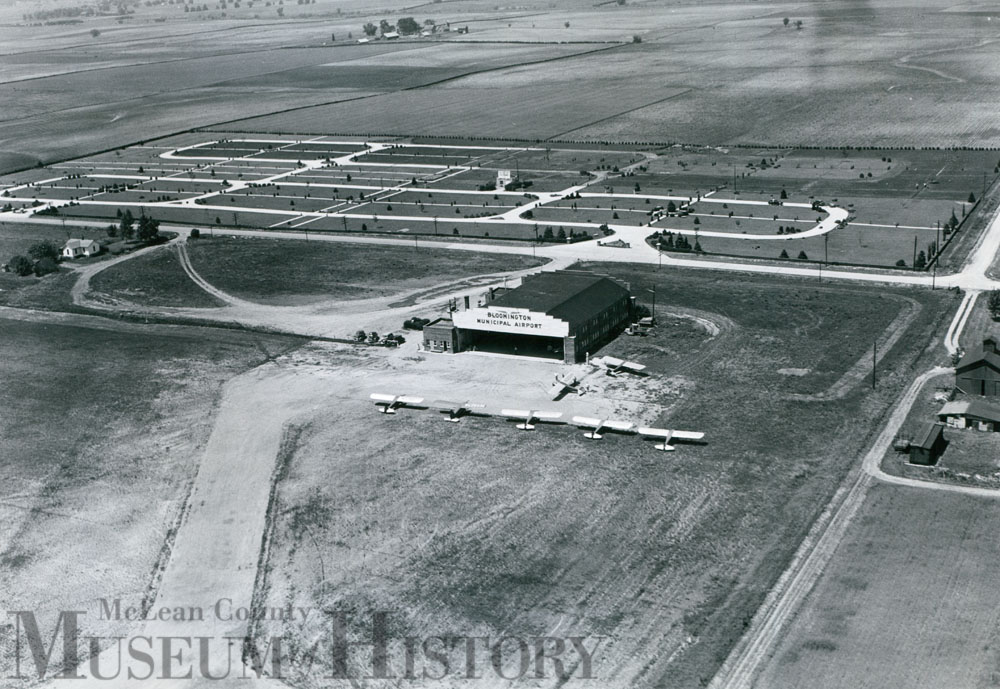 Aerial view of Bloomington Airport, 1941.