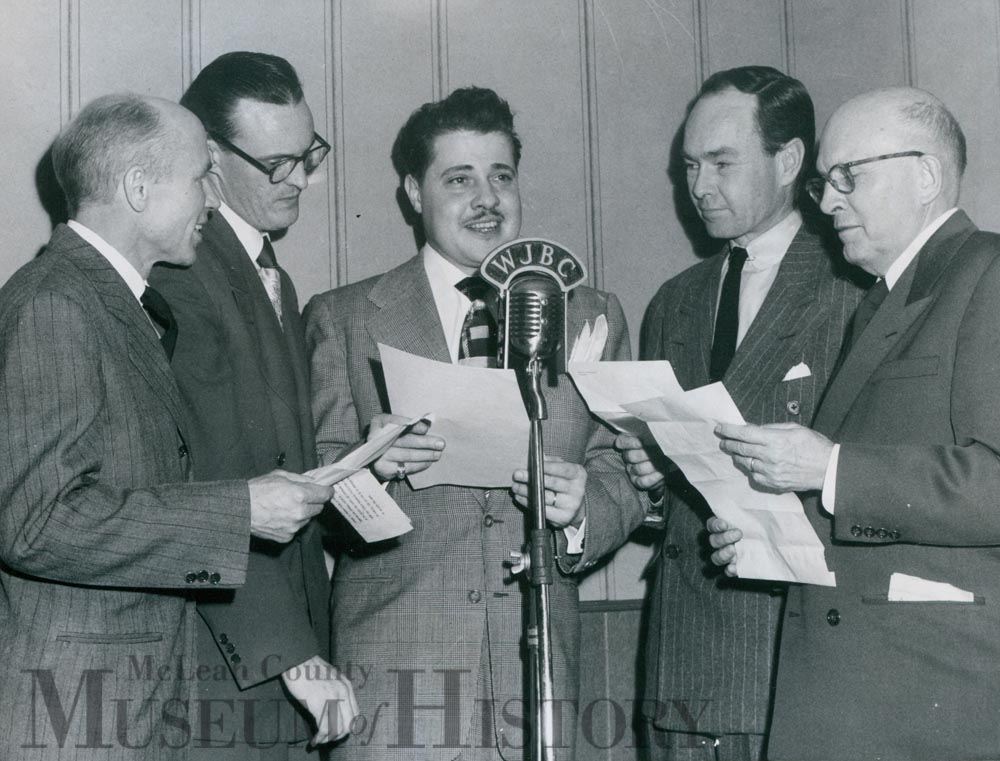 Jim Ameche helped WJBC Radio inaugurate new building, 1949.