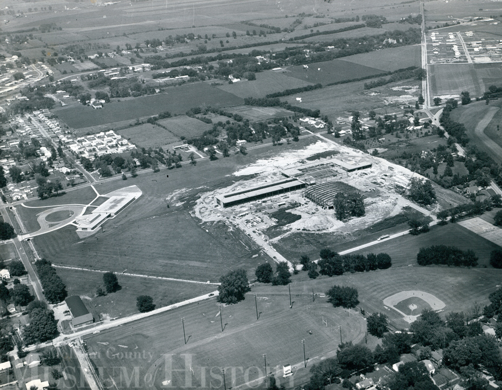 Aerial view of Bloomington High School, 1958.