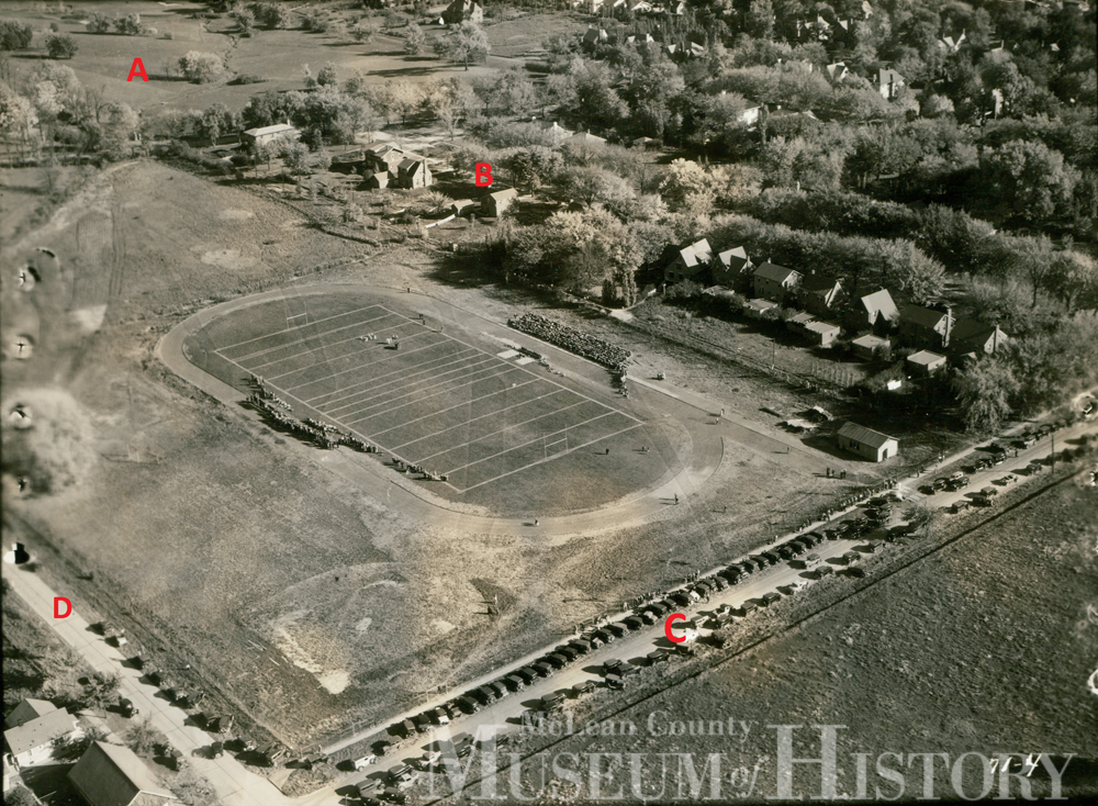 Aerial view of Bloomington High School Field, undated.