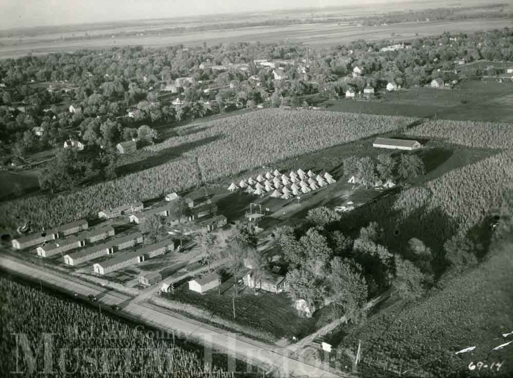 Aerial photo of LeRoy CCC camps, 1934.