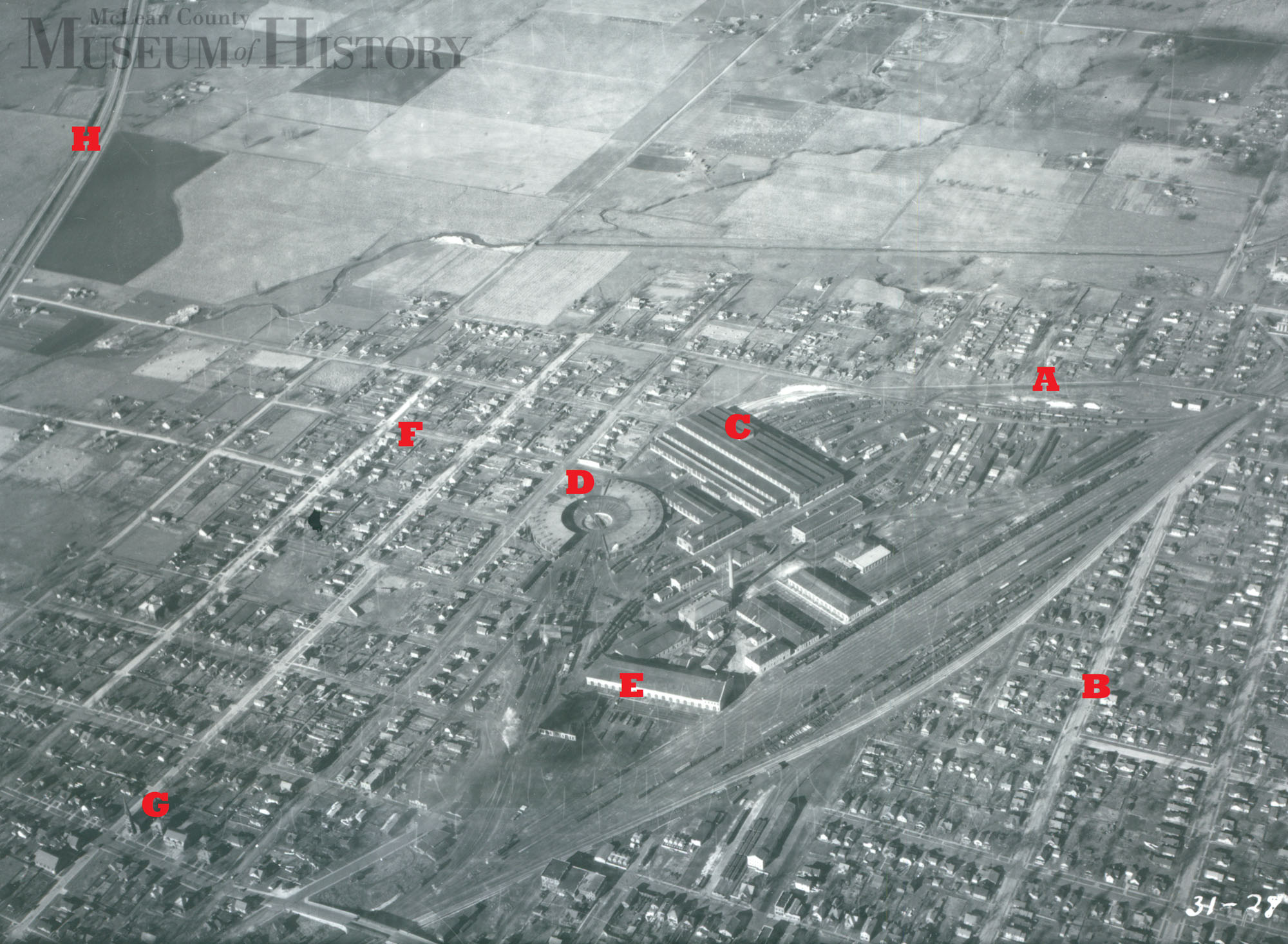 Aerial view of Chicago & Alton Railroad shops, undated.