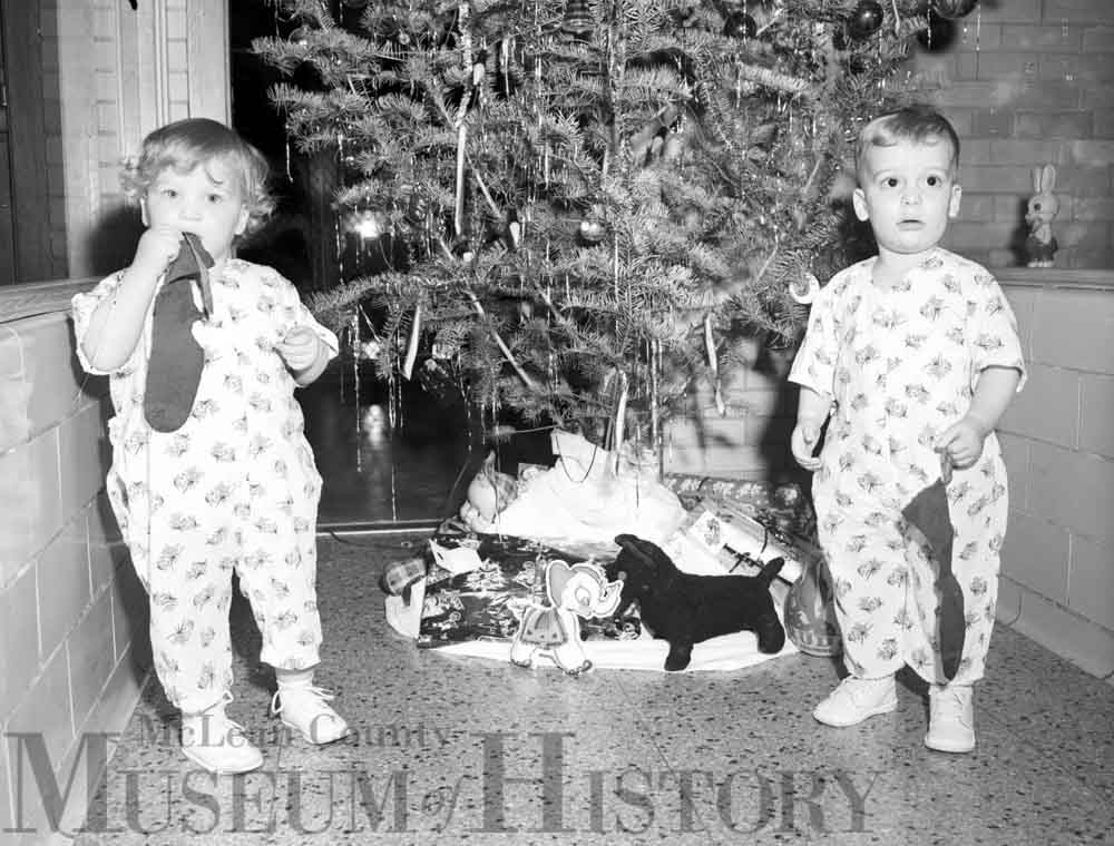 Two toddler on Christmas, 1953.