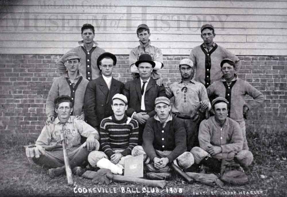 Young men in a baseball club, 1908.