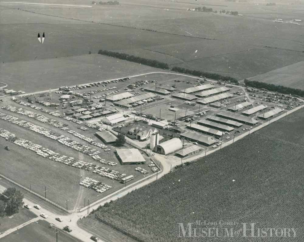 Aerial view of McLean county fairgrounds, 1956.