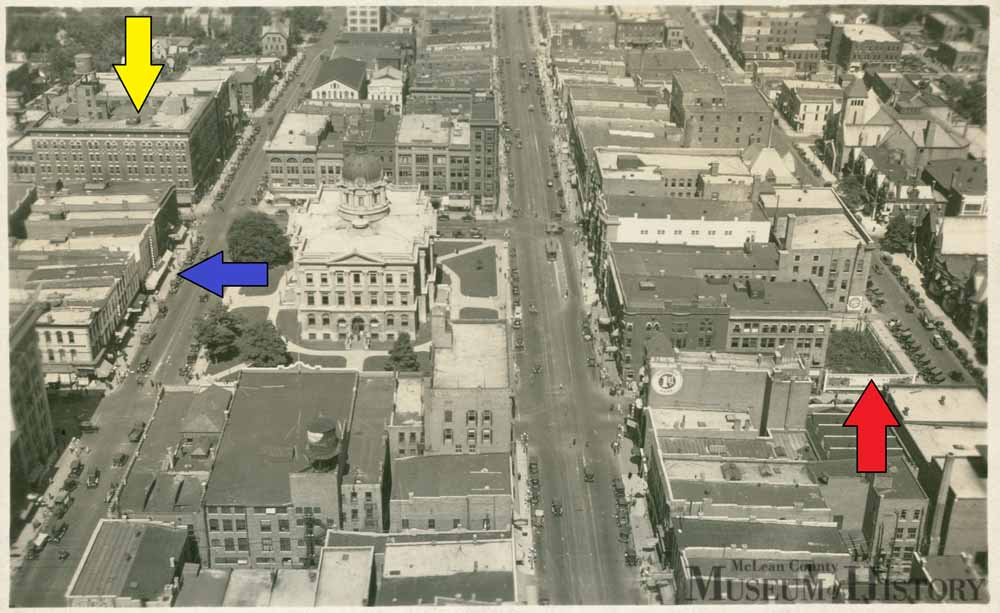 Aerial view of downtown Bloomington, undated.