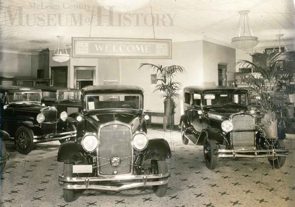 Old car show room, 1929.