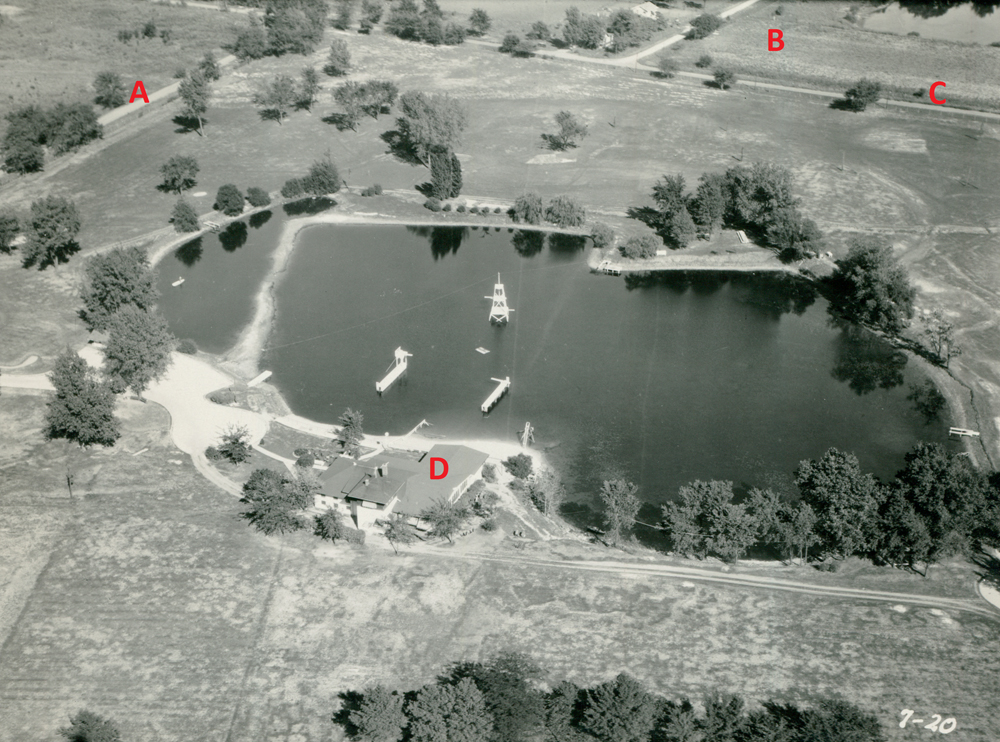Aerial view of Lakeside Country Club, 1930.