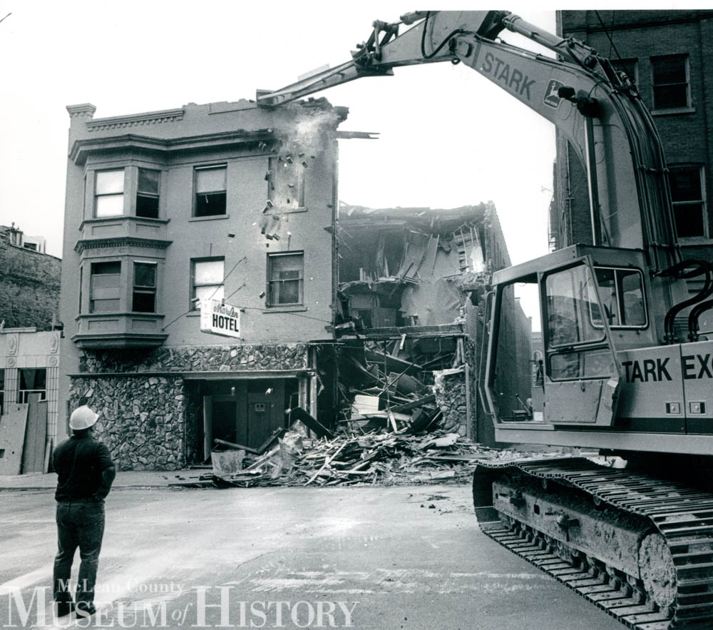 Demolition of Mar-Len Hotel, 1988.