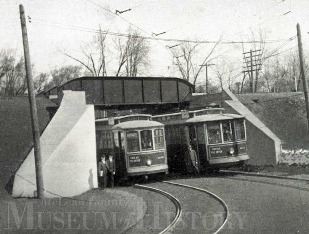 Subway streetcars in Normal, 1912.