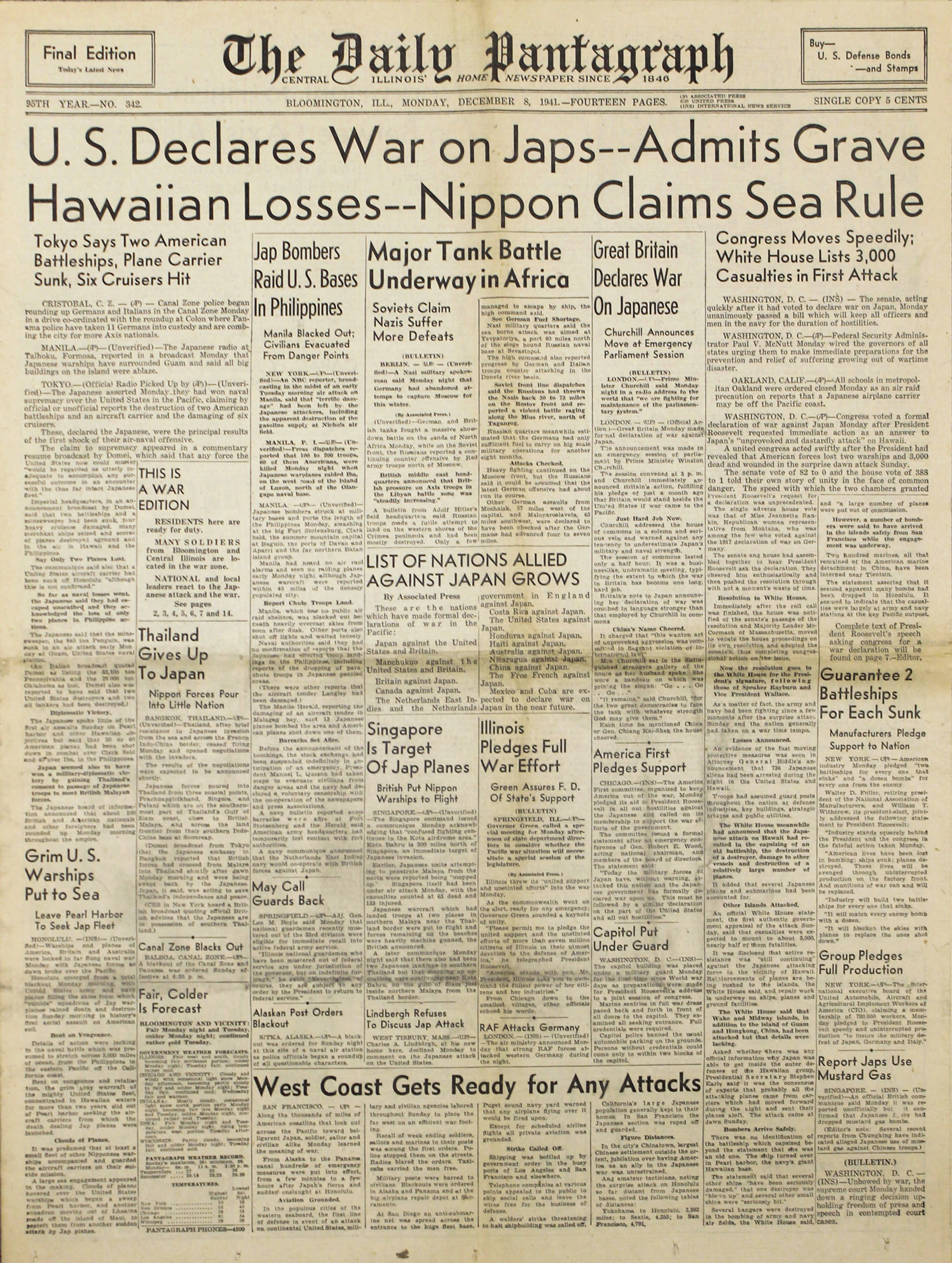 Congress declares war on Japan, 1941.