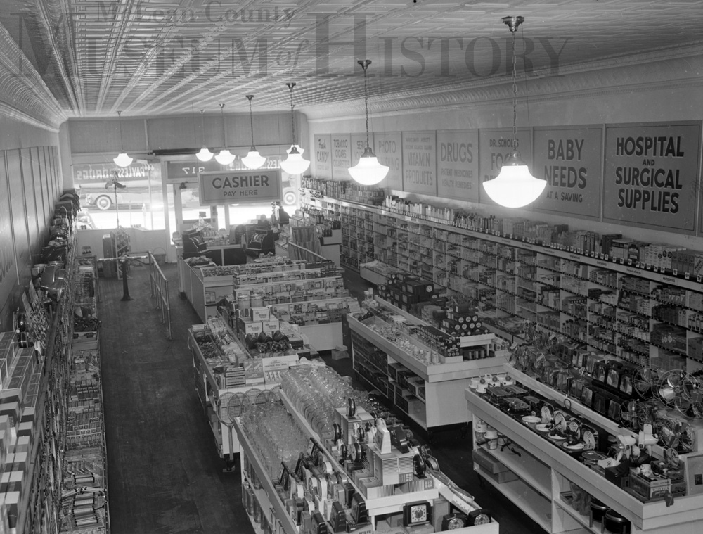 Photo of the interior of ​Payless Drugs, 317 N. Main St., 1940