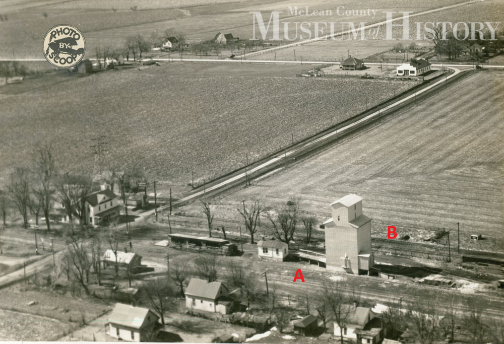 Aerial view of Randolph railway, 1938.