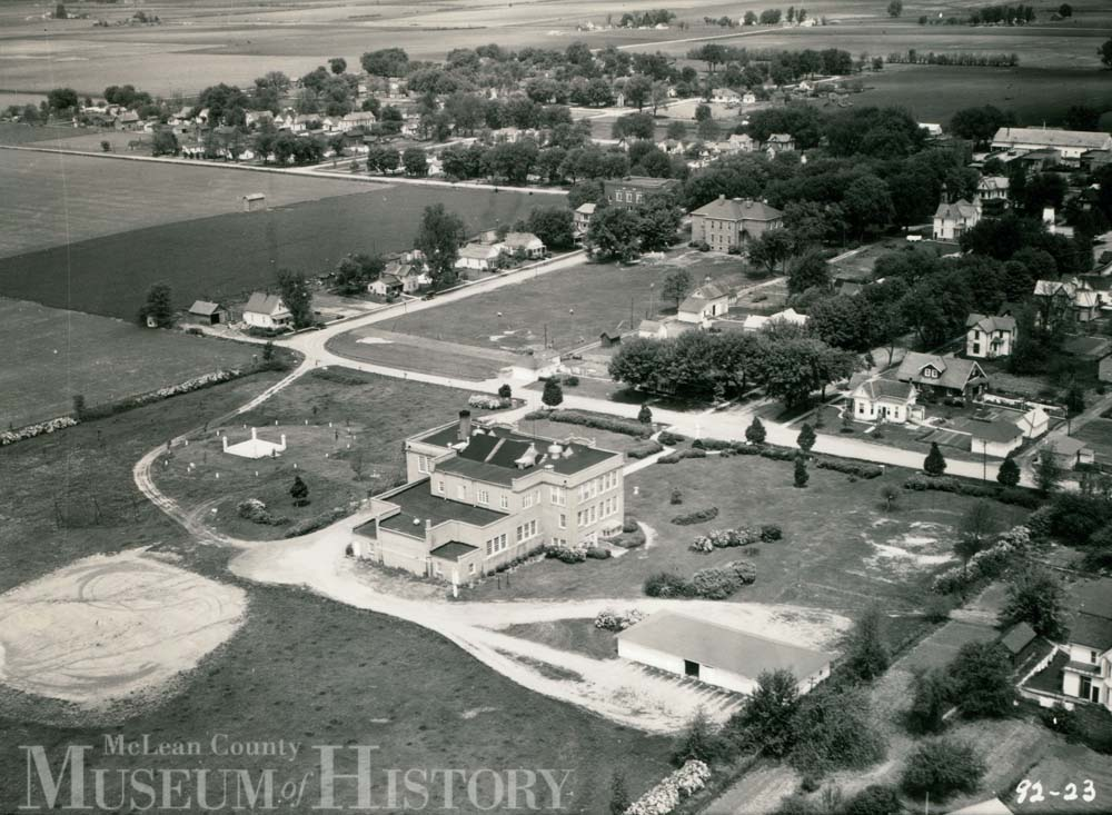 Aerial view of Stanford High School, 1936.