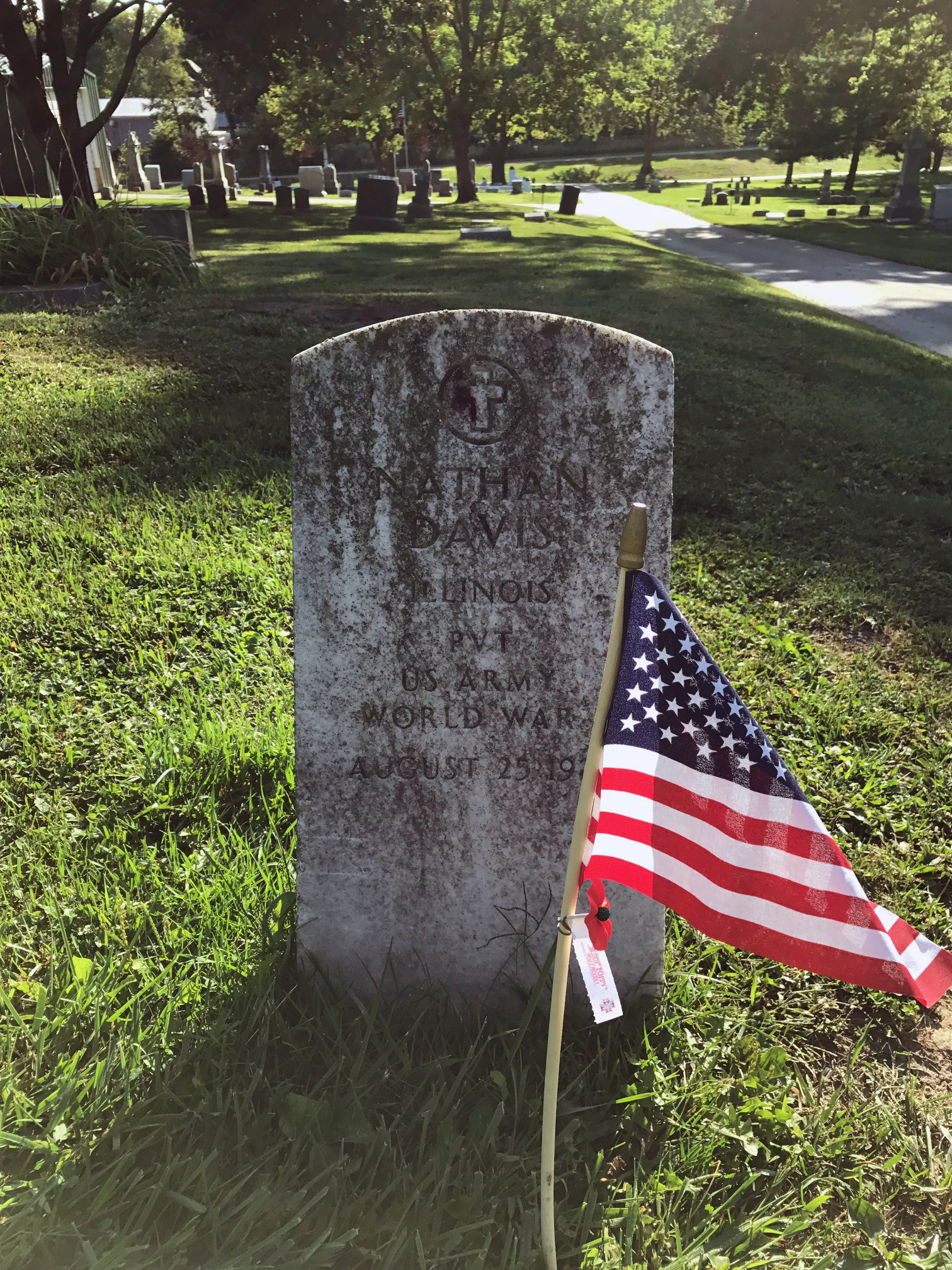 Grave site of Nathan Davis, Pvt Co. M Dev BN No. 2. Grave is marked with a U.S. Flag and poppy at Evergreen Memorial Cemetery, Bloomington, IL.
