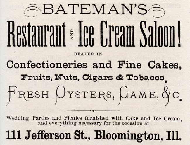 Batemans Restaurant & Ice Cream Saloon, 1873, Bloomington Illinois