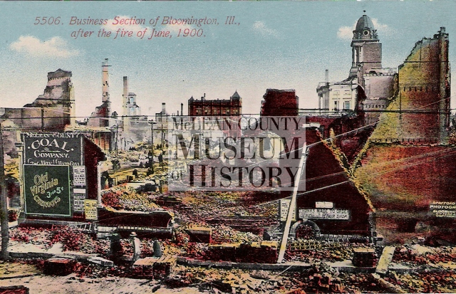 Postcard showing the aftermath of the fire which swept through Downtown Bloomington on June 19, 1900.
