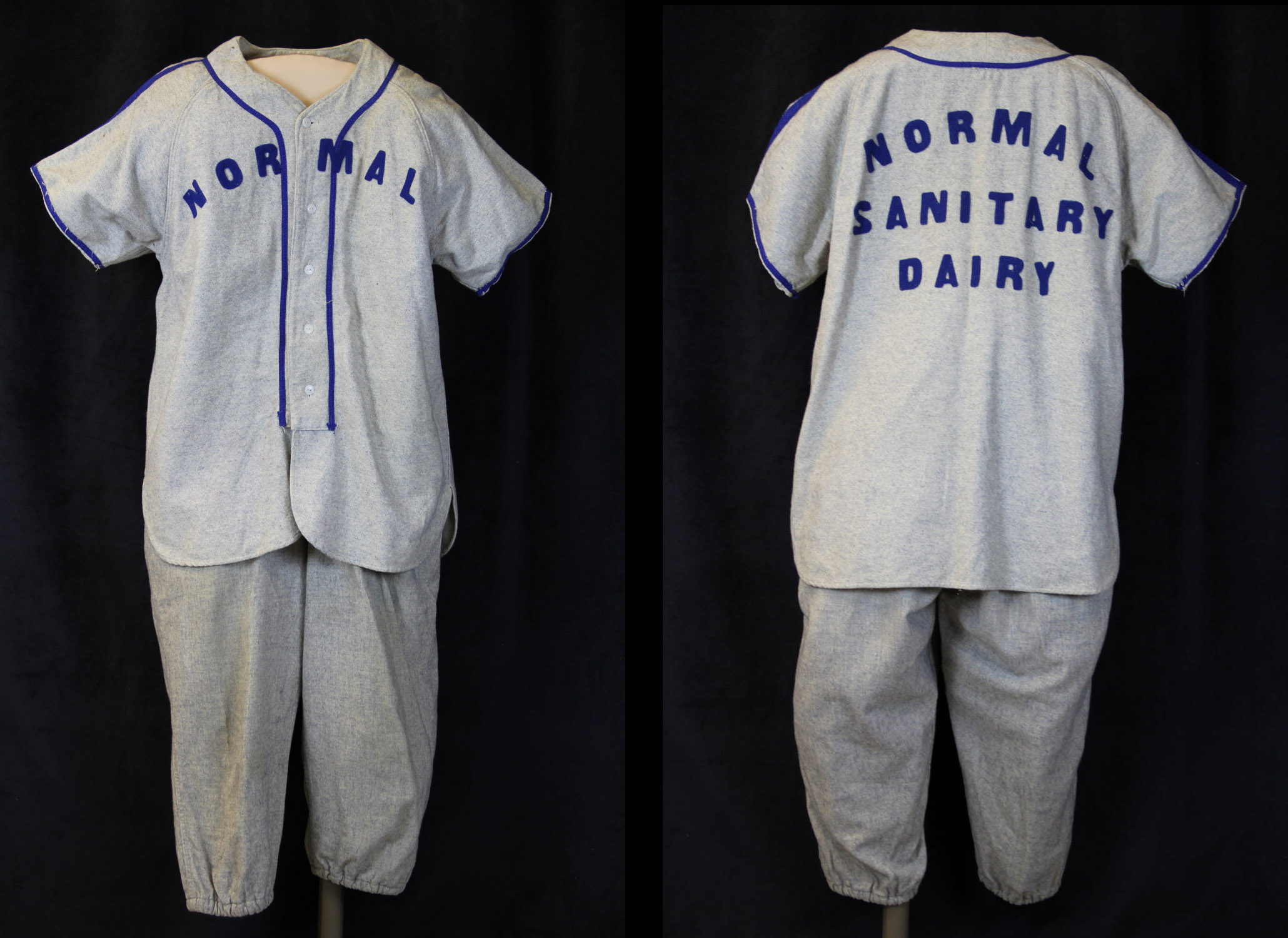 Uniform worn by a member of the Normal Sanitary Dairy's baseball team in the late 1930s and early 1940s.