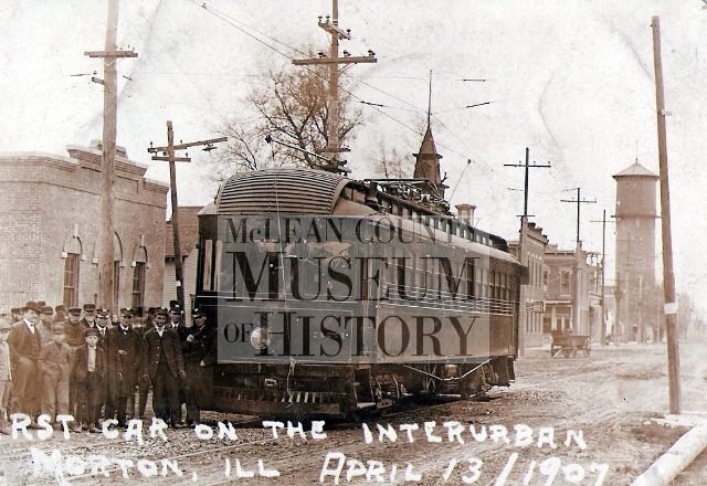 The first car on the Interurban at Morton, Illinois, April 13, 1907.