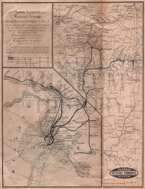 This is a not-to-scale map showing the route of the Illinois Terminal System from Peoria to Bloomington to Champaign to Decatur to St. Louis. The map shows the stops along to system.