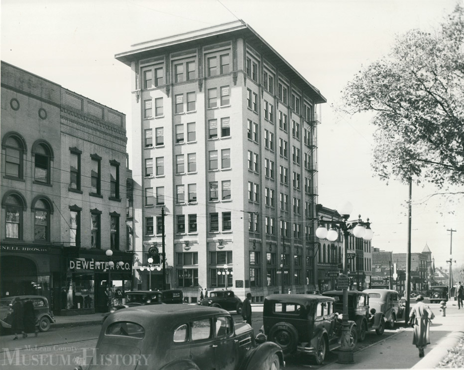 Peoples Bank building (now Commerce Bank), corner of Center and Washington streets in downtown Bloomington