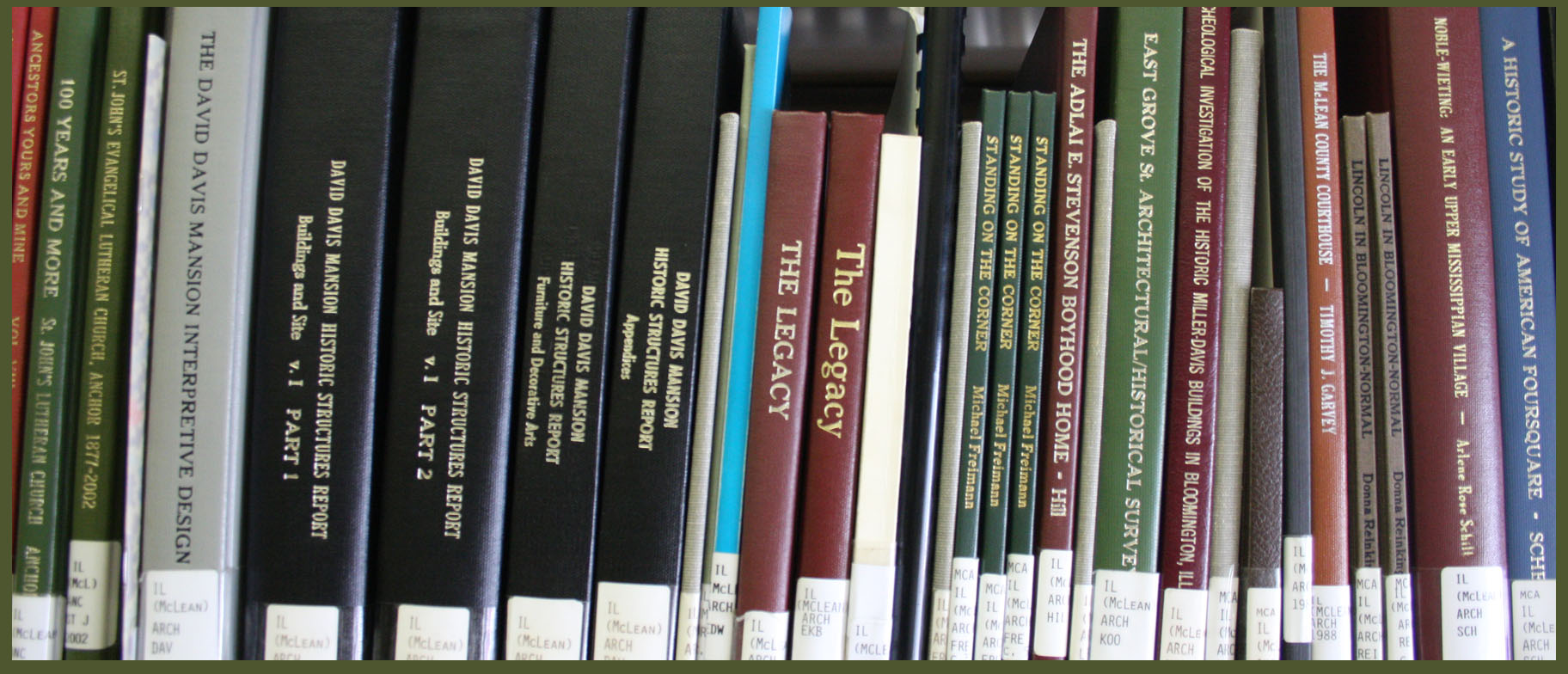 Books in the Stevenson-Ives Library.